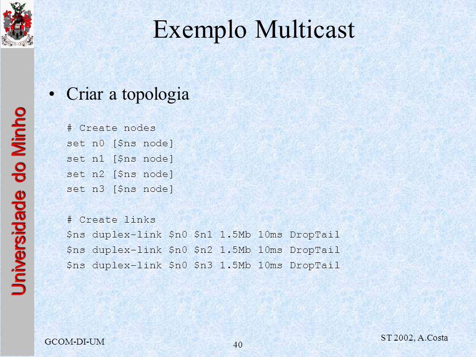 Exemplo Multicast Criar a topologia # Create nodes set n0 [$ns node]